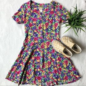 Vintage Esprit Floral Fit And Flare Dress